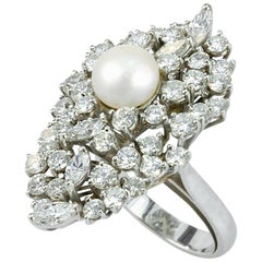 Pearl and 4.60 Navette and Round Cut Diamonds 18 Karat White Gold Cocktail Ring