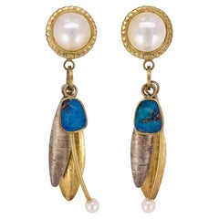 Pearl and Boulder Opal Earrings by Sydney Lynch