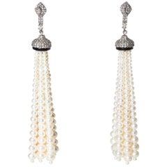 Pearl and Diamond 18 Karat Gold Tassel Dangle Earrings