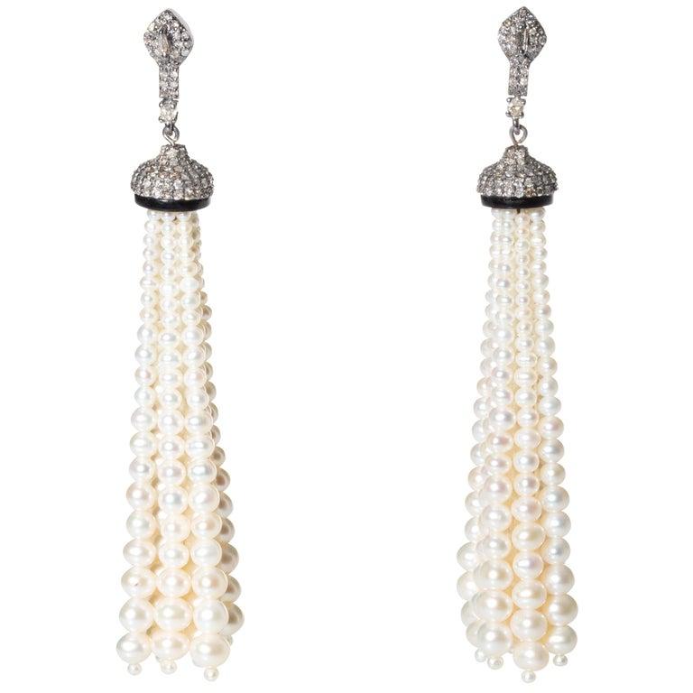 Pearl and Diamond 18 Karat Gold Tassel Dangle Earrings For Sale