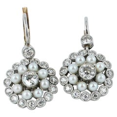 Pearl and Diamond Art Deco Earrings in Platinum and 18 Karat Yellow Gold