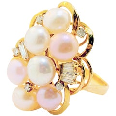 Pearl and Diamond Cluster Ring 14 Karat Yellow Gold Cultured Pearls and Diamonds