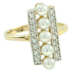 Pearl and Diamond Cocktail Ring