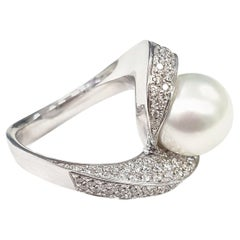 Pearl and Diamond Cocktail Ring with a Twist