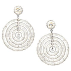 Pearl and Diamond Concentric Circle Earpendants by Umrao