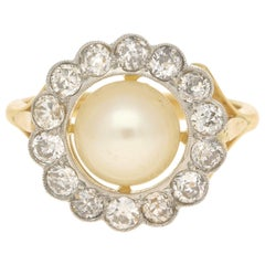 Pearl and Diamond Coronet Cluster Ring Yellow White Gold, circa 2005