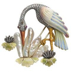 Pearl and Diamond Crane Bird Brooch