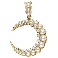Pearl and Diamond Crescent Pendant Brooch