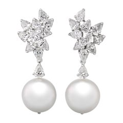 Pearl and Diamond Drop Earrings