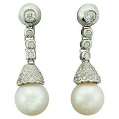 Pearl and Diamond Drop Earrings in 18 Karat