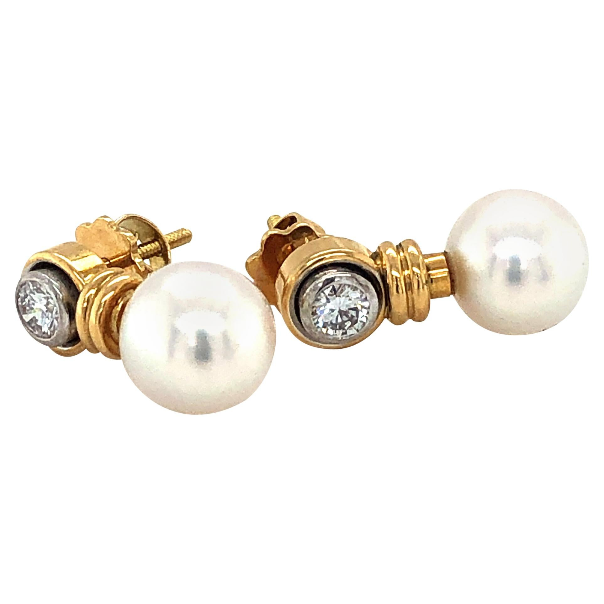 Pearl and Diamond Ear Studs in Yellow, and White Gold