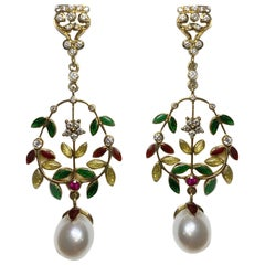 Pearl and Diamond Earrings with Red, Yellow, and Green Enamel in 18 Karat Gold