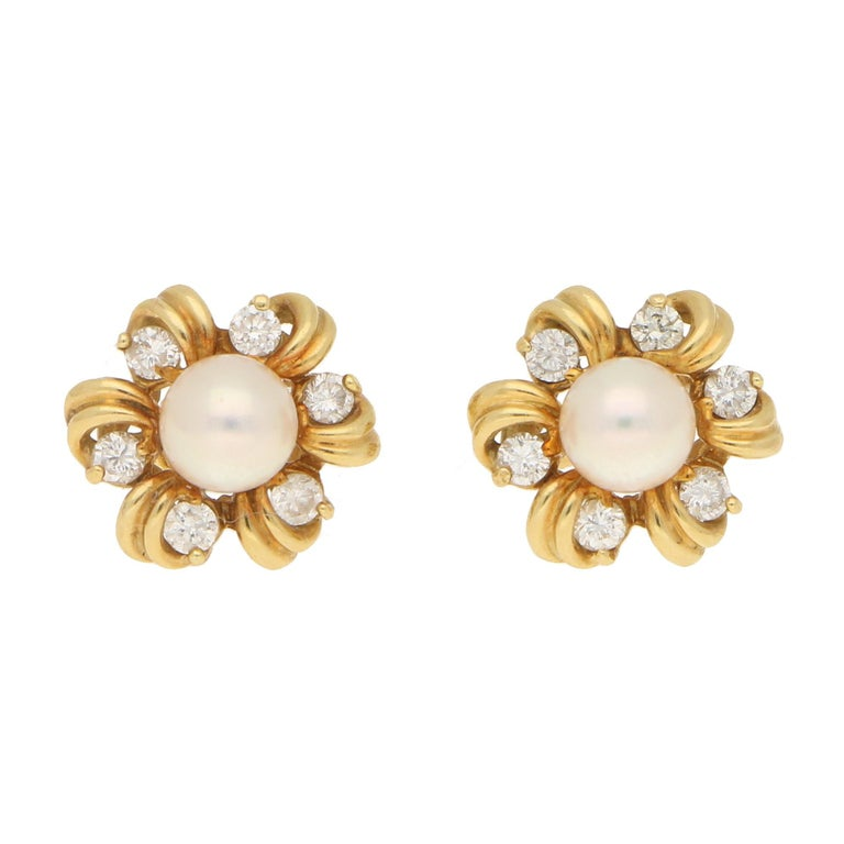 d78d0b0da Pearl and Diamond Fancy Cluster Stud Earrings Yellow Gold For Sale ...