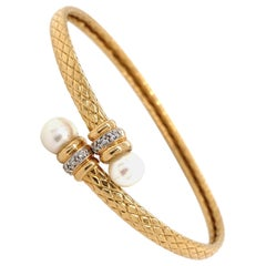 Pearl and Diamond Flexible Gold Bypass Bracelet Estate Fine Jewelry