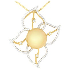 Pearl and Diamond Floral Pendant