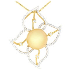 Yellow Pearl and Diamond Floral Flower Pendant Necklace 18K Yellow Gold