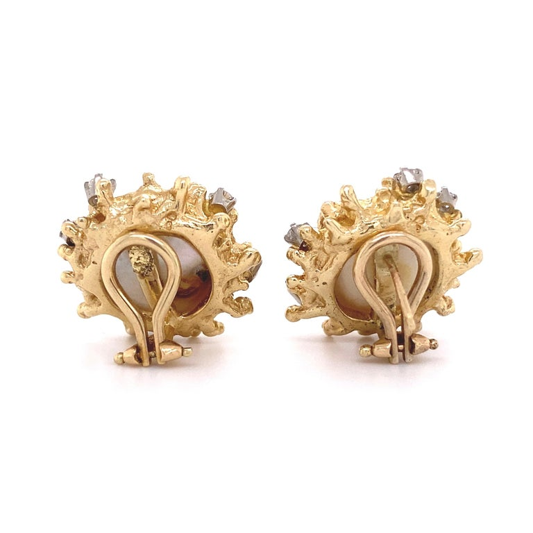 Modernist Pearl and Diamond Gold Clip-on Button Earrings Estate Fine Jewelry For Sale