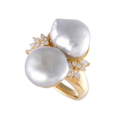 Pearl and Diamond Gold Cocktail Ring