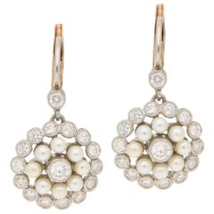 Pearl and Diamond Lever-Back Cluster Drop Earrings Set in 18 Karat Gold