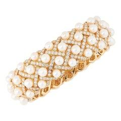 Pearl and Diamond Matelasse Bangle, Chanel