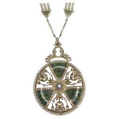Pearl and Diamond Mint Green Enamel Necklace in 18 Karat Gold