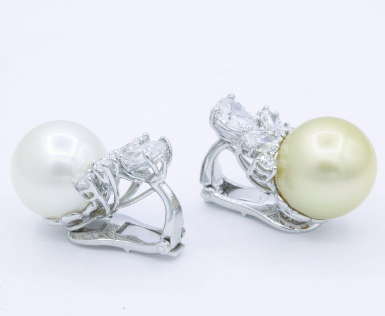 Pearl and Diamond 'Mismatch' Earrings, 1.39 Carat, Platinum In New Condition For Sale In New York, NY