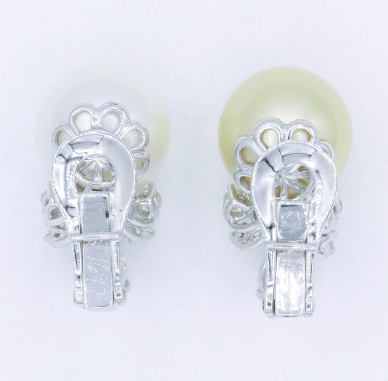 Women's or Men's Pearl and Diamond 'Mismatch' Earrings, 1.39 Carat, Platinum For Sale