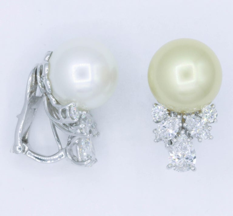 Pearl and Diamond 'Mismatch' Earrings, 1.39 Carat, Platinum For Sale 1