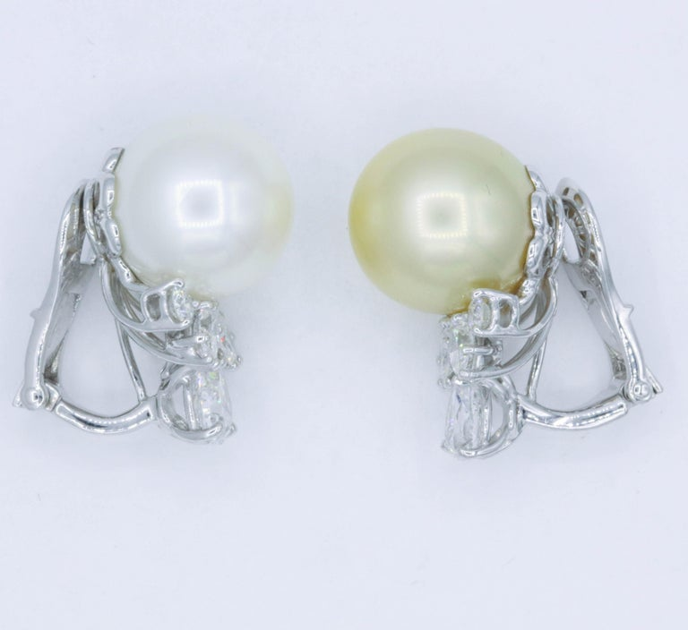 Pearl and Diamond 'Mismatch' Earrings, 1.39 Carat, Platinum For Sale 2