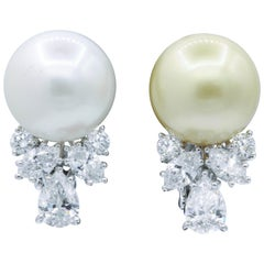 Pearl and Diamond 'Mismatch' Earrings, 1.39 Carat, Platinum