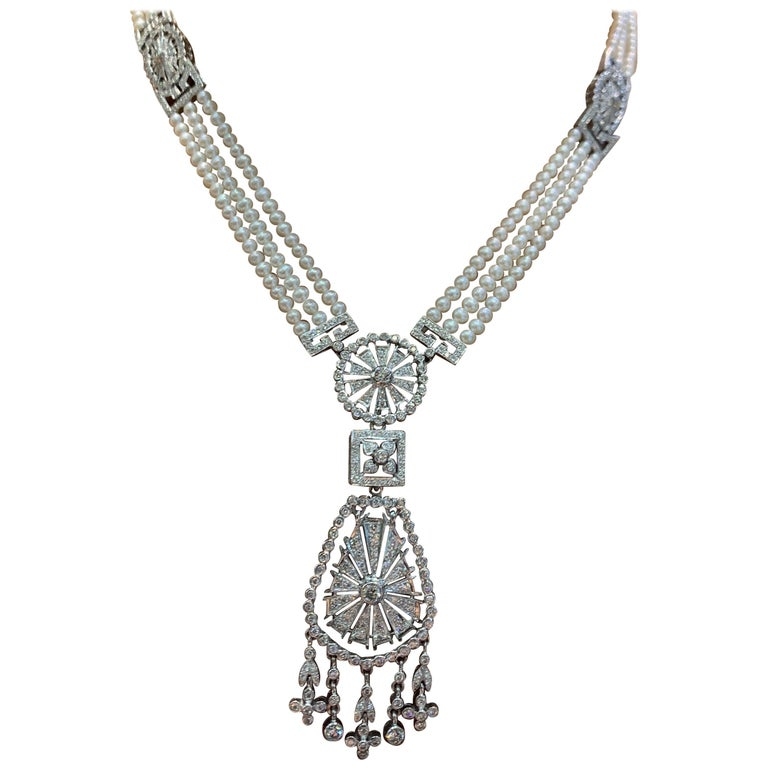 Pearl and Diamond Multi Strand Drop Necklace For Sale