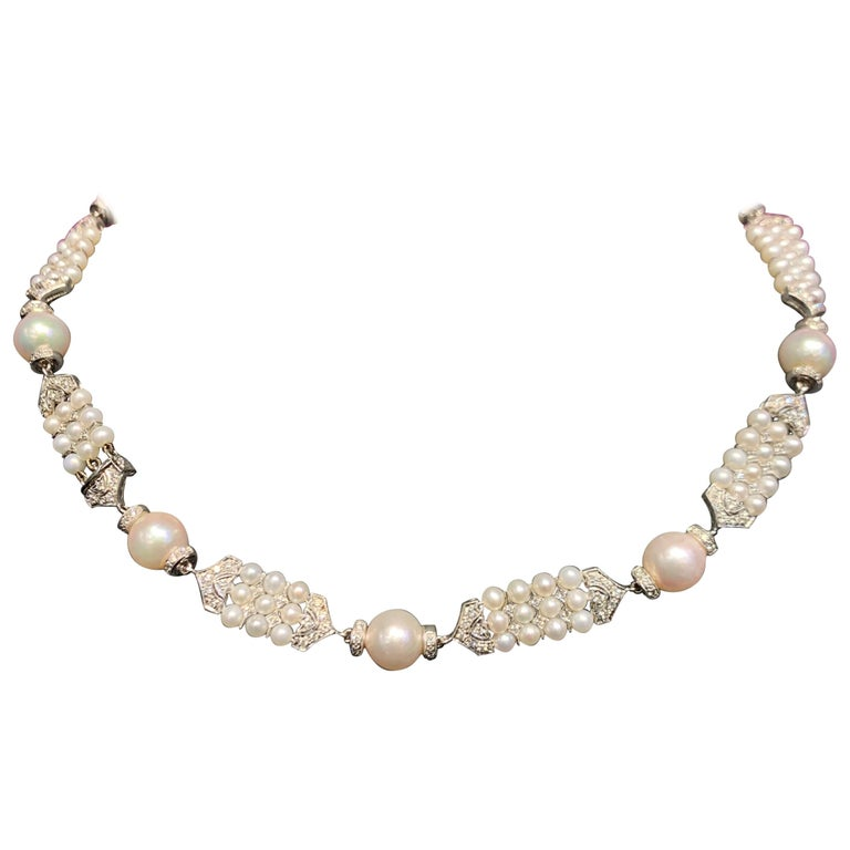 Pearl and Diamond Necklace For Sale