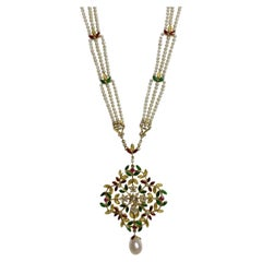 Pearl and Diamond Necklace with Red, Yellow, and Green Enamel in 18 Karat Gold