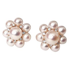 Pearl and Diamond on Flower Gold Ear Studs