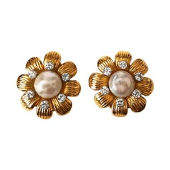 Pearl and Diamond on Gold Flower Ear Clips