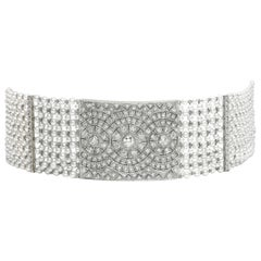 Pearl and Diamond Platinum Choker Necklace