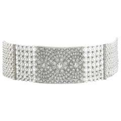 Pearl and Diamond Platinum Choker Necklace