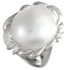 Pearl and Diamond Platinum Cocktail Ring