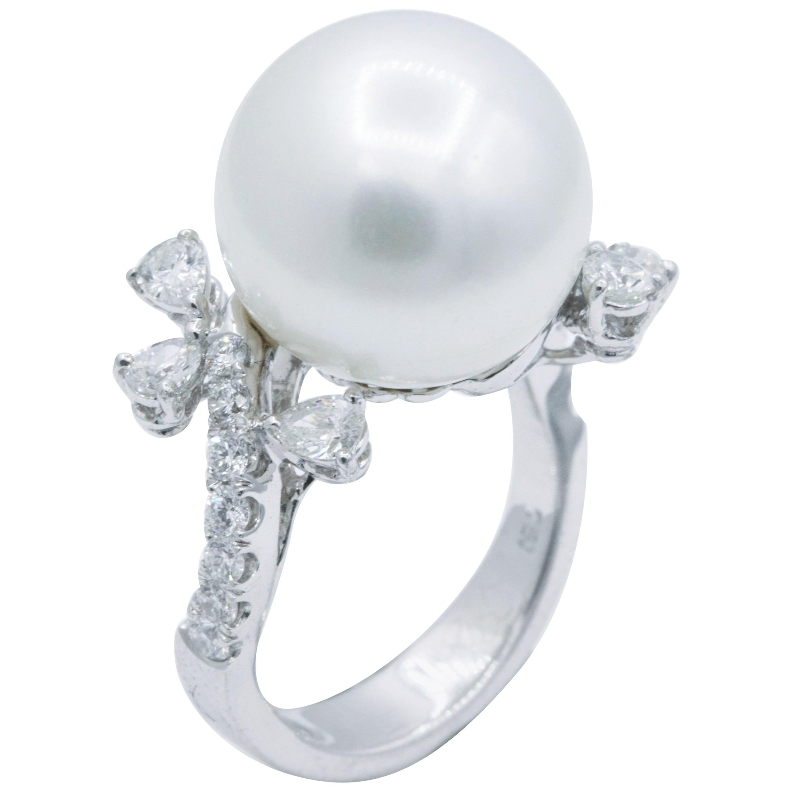 Pearl and Diamond Ring, 0.99 Carat