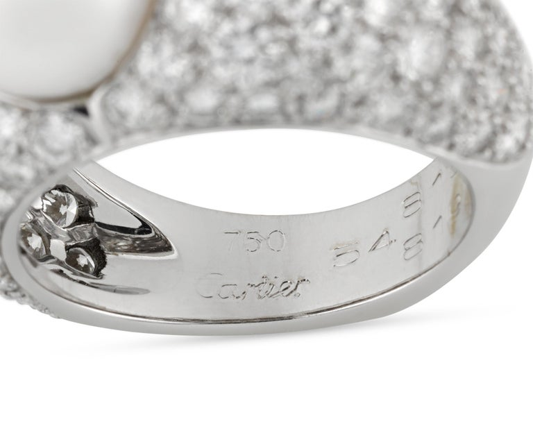 Modern Pearl and Diamond Ring by Cartier For Sale