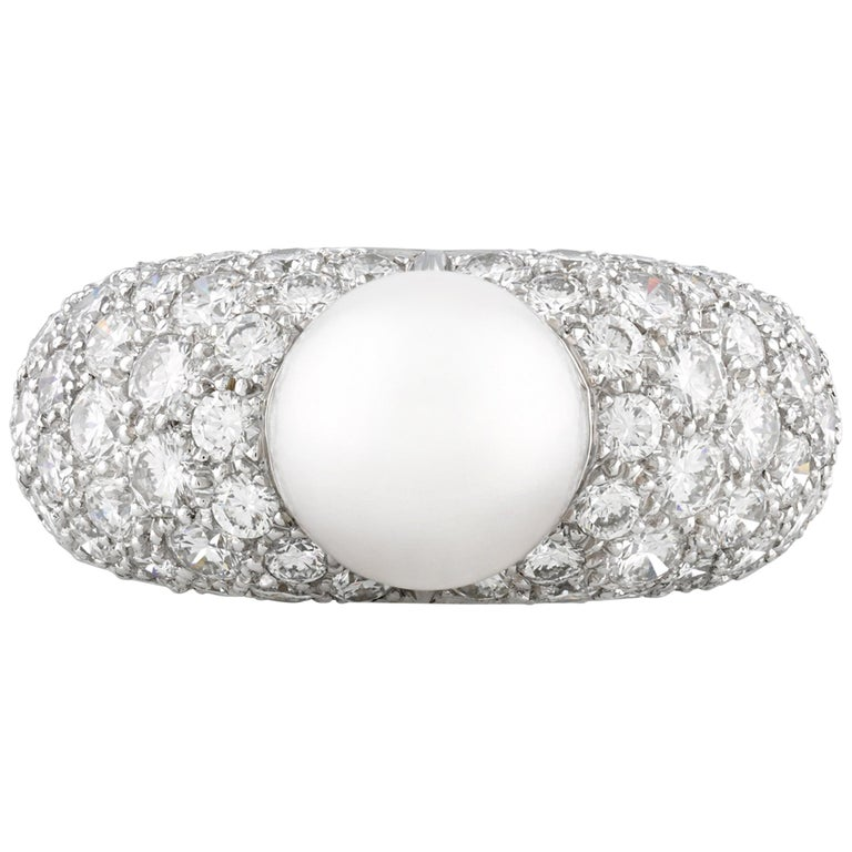 Pearl and Diamond Ring by Cartier For Sale