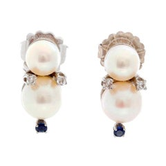 Pearl and Diamond and Sapphire Stud Earrings