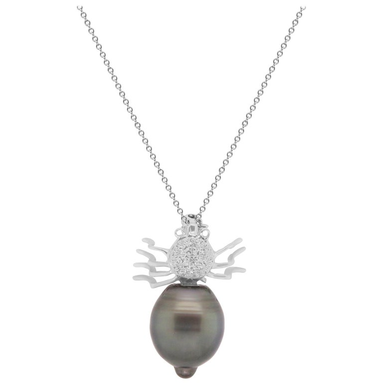 Round Tahitian Pearl and White Diamond Spider Pendant Necklace Brooch 14K Gold For Sale