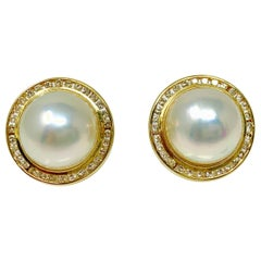 Pearl and Diamond Stud Earrings in Yellow Gold