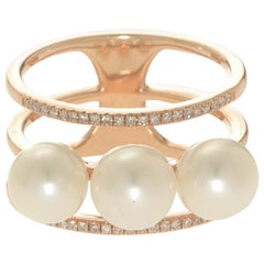 Pearl and Diamond Triple Bar Ring
