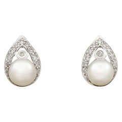 Pearl and Diamond White Gold Stud Earrings