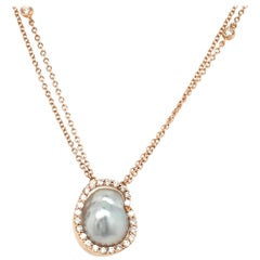 Pearl and Diamonds Rose Gold Pendent Italy