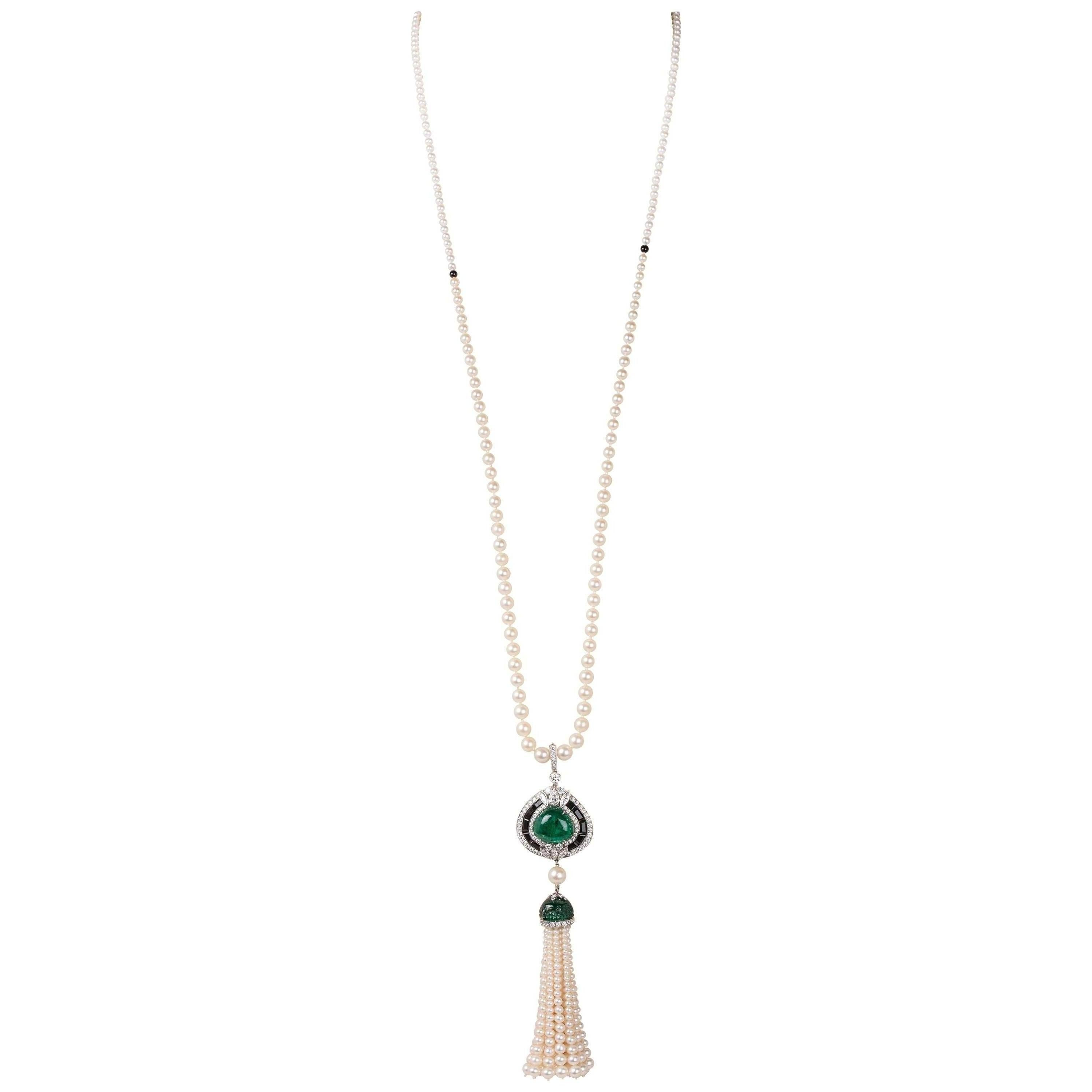 Pearl and Emerald Tassel Necklace