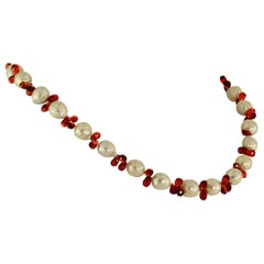 Pearl and Garnet Briolette Choker Necklace