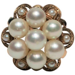Pearl and 14 Karat Yellow Gold Cocktail Ring